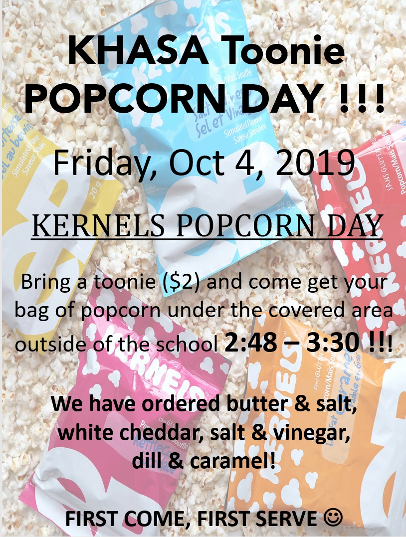 Upcoming Fundraising Events: Popcorn Day, October 4th